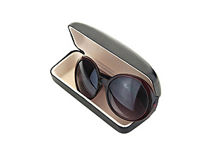 Faux Leather Clamshell Eyeglass / Sunglass Case
