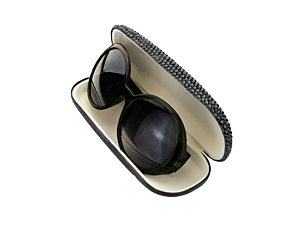Jet Black Pave Crystal Stone Sunglass Case