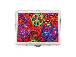Vintage Peace Symbol Cigarette Holder Tin Case ~ Style 3