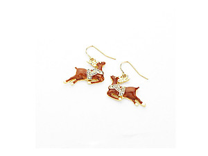 Brown Christmas Enamel Reindeer Dangle Earrings