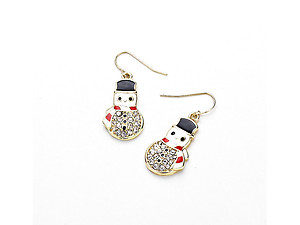Goldtone Pave Enameled Snowman Dangle Earrings