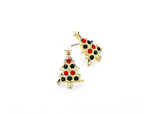 Crystal Accented Christmas Tree Stud Earrings