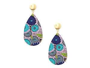 Worn Flower Printed Fabric Teardrop Earrings