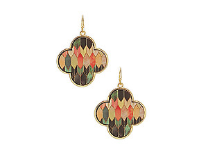 Geometric Printed Wood Moroccan Lozenge Shaped Earrings