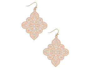 Ornate Shape Color Painted Metal Earrings