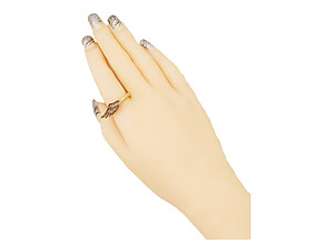 Burnished Gold Angel Wing Engraved Metal Stretch Ring