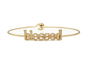 Blessed Inspirational Message Stencil Wire Hook Clasp Bangle Bracelet