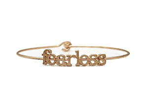 Fearless Inspirational Message Stencil Wire Hook Clasp Bangle Bracelet
