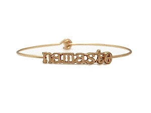 Namaste Inspirational Message Stencil Wire Hook Clasp Bangle Bracelet