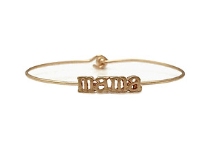 Mama Inspirational Message Stencil Wire Hook Clasp Bangle Bracelet