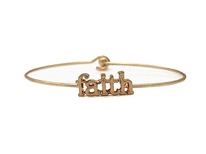 Faith Inspirational Message Stencil Wire Hook Clasp Bangle Bracelet