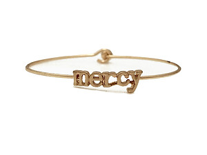 Mercy Inspirational Message Stencil Wire Hook Clasp Bangle Bracelet