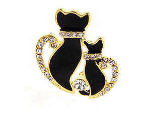Goldtone Double Cat Rhinestone Pave Pin Brooch