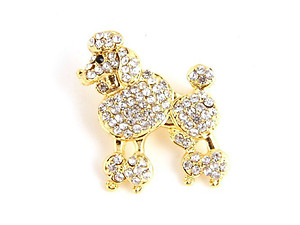 Goldtone Rhinestone Poodle Dog Pin Brooch