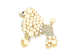 Goldtone Rhinestone & Synthetic Pearl Dog Pin Brooch