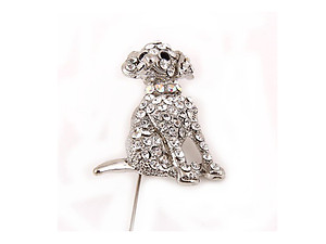 Adorable Sitting Puppy Dog Brooch