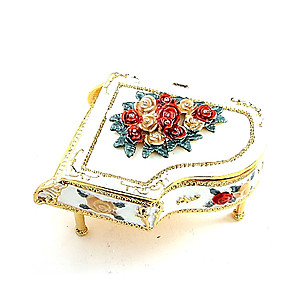 Metal & Rhinestone Piano Shaped Jewerly Box