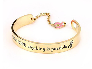 With Hope Anything Is Possible Goldtone Message Cuff Bracelet