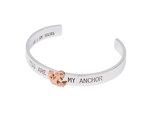 Shiny Silvertone You Are My Anchor Cuff Bracelet