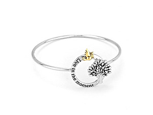 Silvertone Live In The Moment Bangle Bracelet