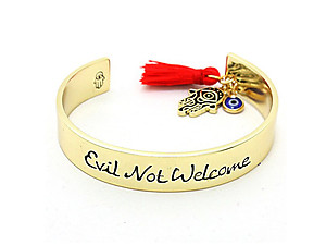 Goldtone Evil Not Welcome Cuff Bracelet