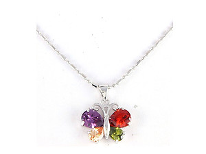 Multi-Color Stainless Steel Butterfly Pave Pendant Necklace