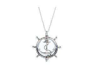 Round Silvertone Anchor Magnifying Glass Pendant Necklace