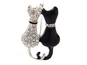 Rhinestone Cat Pave Pin & Brooch