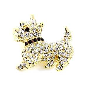 Goldtone Metal Rhinestone Dog Pave Pin Brooch