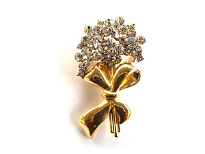 Goldtone Crystal Bouquet Pin Brooch