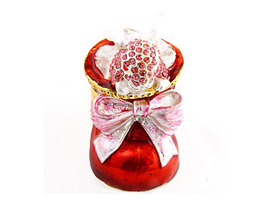 Red Rhinestone & Metal Santa Shoe Jewelry Trinket Box