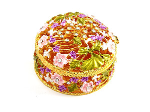 Purple Rhinestone & Metal Flower Filigree Jewelry Trinket Box