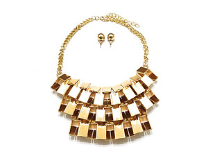Chunky Goldtone Metal Accent Lattice Bib Jewelry Set