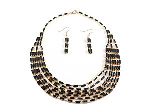 Gold & Black Metal Bohemian Draped Necklace & Hook Earring Set