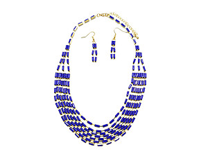 Gold & Blue Metal Bohemian Draped Necklace & Hook Earring Set