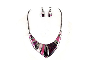 Purple Vintage Acrylic Stone Collar Necklace & Earring Set