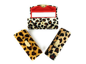 Velvet Cheetah Print Lipstick Case Holder w/ Mirror