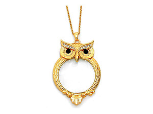 Goldtone Wise Owl Magnifying Glass Pendant Necklace