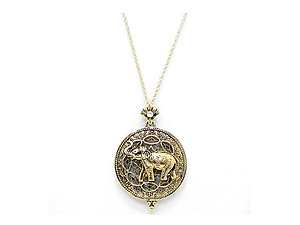 Goldtone Elephant Magnifying Glass Pendant Necklace