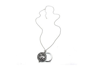Silvertone Elephant Magnifying Glass Pendant Necklace