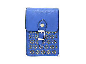 Navy Laser Cut Out Mini Pocket Crossbody Cell Phone Pouch Bag with Strap