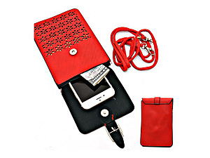 Red Laser Cut Out Mini Pocket Crossbody Cell Phone Pouch Bag with Strap