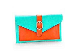 Red &Teal Color Block Buckle Envelope Clutch Bag with Detachable Chain Strap