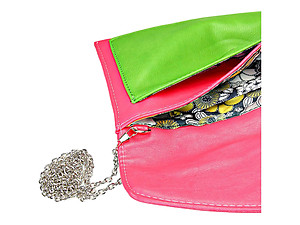 Green & Fuchsia Color Block Buckle Envelope Clutch Bag with Detachable Chain Strap