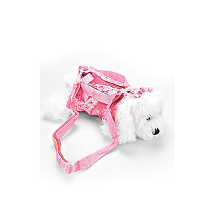 Kids Pink Sequin Clothed Maltese Toy Dog Doll Crossbody Bag