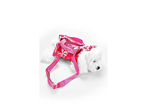 Kids Fuchsia Sequin Clothed Maltese Toy Dog Doll Crossbody Bag
