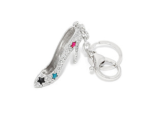 Silvertone Crystal Star Pave Stiletto High Heel Key Chain