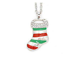 Crystal Pave Enamel Stripe Christmas Sock Pendant Necklace