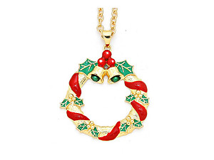 Goldtone Enamel Christmas Wreath Pendant Necklace