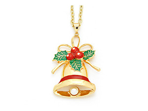 Goldtone Enamel Christmas Bell Pendant Necklace